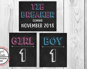Tie Breaker Pregnancy Announcement Sign, Pregnancy Reveal, Printable, Pink or Blue, Instant Download, Chalkboard Sign, due November 2018