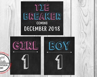 Tie Breaker Pregnancy Announcement Sign, Pregnancy Reveal, Printable, Pink or Blue, Instant Download, Chalkboard Sign, due December 2018