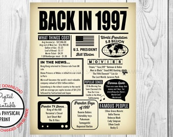 1997 The Year You Were Born, 21st Birthday Poster Sign, Back in 1997 Newspaper Style Poster, Printable, 1997 Facts, 21 years ago