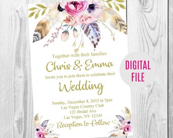 Gold Floral Boho Wedding Invitation, Save the Date, RSVP Card, Thank You Card Sign, Feather Floral Boho Wedding Invite Set