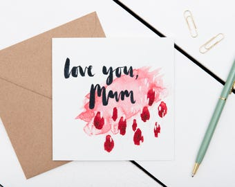 Mother's Day Card - Love You, Mum - Brush Lettered Calligraphy Charity Card - Watercolour Abstract