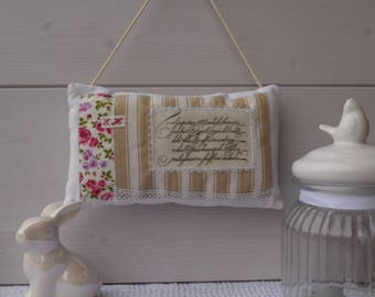 Door cushion fabric and French ticking - decorative pillow - label Scriptures - cushion and vintage transfer-