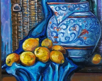 "Original Oil painting, Still Life-with Lemons on Blue Cloth,28""x22"", 1803152"