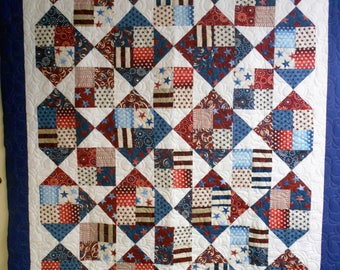 """Quilt, Full Size Quilt, Handmade Full Size Quilt, Patriotic Full Size Quilt, Red, White and Blue Full Size Quilt, 79"""" x 84"""""""