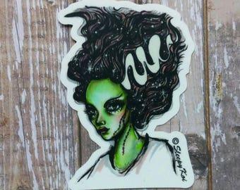 Bride of Frankenstein - Halloween themed 3 inch Die Cut Weatherproof Vinyl Sticker from Drawlloween /Inktober 2017