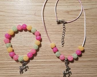 Unicorn Necklace and Bracelet Set