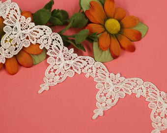 White Scalloped Lace trim, bridal veils, wedding trims, bridal decor, costume design, communion, flower girl. (LC20097)