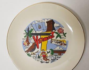 Vintage Vermont Souvenir Ceramic State Plate