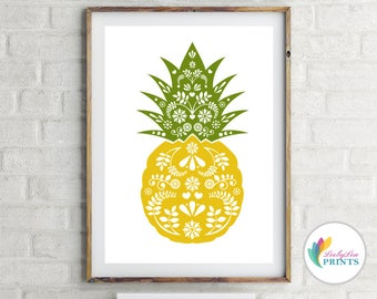 Pineapple Print - Vintage Kitchen Print - Scandinavian Design Pineapple - Fruit Print