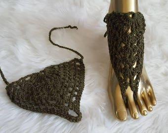 Olive green barefoot sandals, crochet barefoot sandals, beach wear, summer, handmade