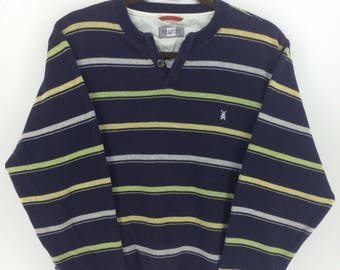 Vintage 90's Macbeth Stripes Classic Design Skate Sweat Shirt Sweater Varsity Jacket Size M #A874