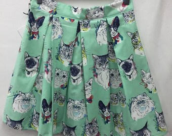 Cute and quirky mint cat skirt size AUS/UK 12