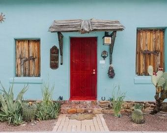 Red Door, Turquoise, Desert, Cactus, Tucson, Barrio Viejo, Doortrait,