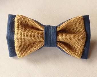 Bow tie double burlap and Navy blue fabric