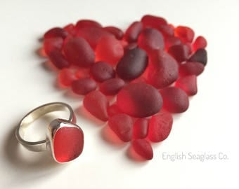 Red Seaham seaglass ring