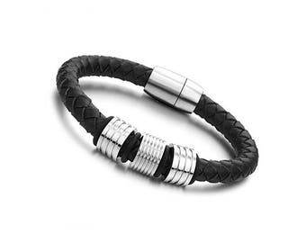 Men's Leather Bracelet (Black)