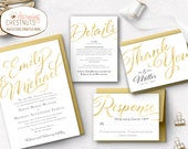Gold Wedding Invitation Set, luxury invitation, Gold invitation, Rose Gold invitation, Personalized wedding invitation, elegant wedding