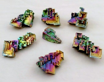 Jewelry-Grade Bismuth Crystal Lot (7 Lg Pieces) Wire-Wrapped Pendant Educational Display Specimens - USA Made