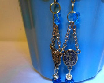 Catholic Medal earrings turquoise earrings religious earrings Mother of God Mary Marian Jewelry