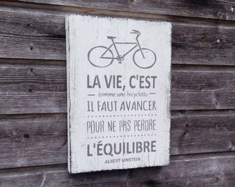 Wood sign / Wooden wall decor / Einstein quote / French decor / French quote / 42cmx30cm / Painting on wood