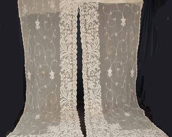 1920's Pair Lace Curtains Long French Net Lace Tambour Floral Embroidery
