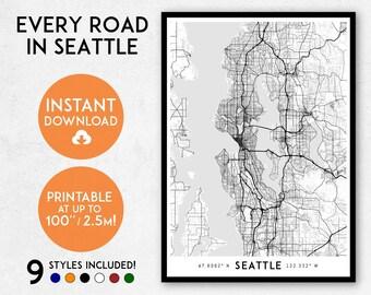 Seattle map print, Printable Seattle map art, Seattle print, Seattle art, Seattle poster, Seattle wall art, Washington map, Map of Seattle
