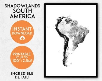 South America map print, Printable South America map art, South America print, South America art, South America poster, Sudamerica map print