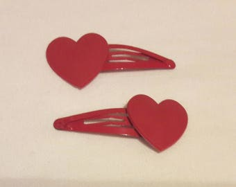 Red Heart Snap Clips - Pack of 2 - Red