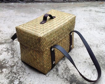 square woven wicker basket with leather strap storage picnic beach bag