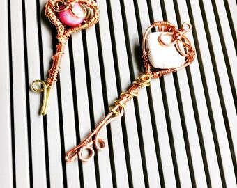 Gemstone Key Pendants - Wire Wrap Key Pendants - Artisan Gemstone Key Pendants- Handmade Key Pendants