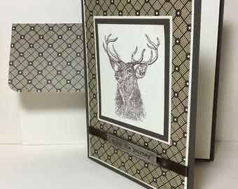 Deer Hunter Card, Deer Hunting, Masculine Greeting Card, Handmade Card, Masculine Birthday Card