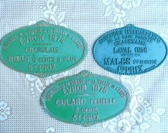 Reduced from 84e to 72e Set of 3 Vintage French Agricultural Award/Metal Plaque, 1975
