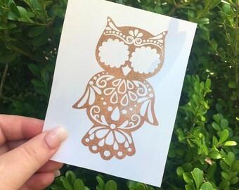 Owl mandala car decal, Monogram owl decals, mandala decal stickers, yeti tumbler decals for women, aztec owl decal, bird mandala decals