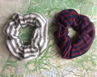 Duo Striped Scrunchie Hair Tie Accessory Pack of Two
