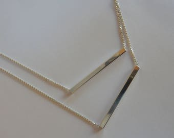 Chic Double Bar Necklace, Sterling Silver, Adjustable length, Handmade, Modern