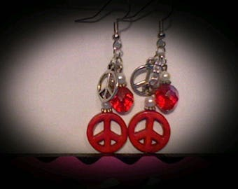 Peace sign funky earrings. red w/white accents.