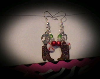 Holiday cowbooy boot earrings.