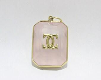 Vintage Cartier Double C Rose Quartz 18K Gold Pendant Necklace