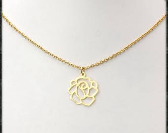 Minimalist gold plated necklace with rose pendant