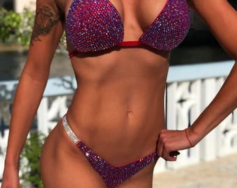 Red&Сhameleon Velvet Competition Bikini Suit with Crystals/Competition Suit/Posing Suit/Rhinestone Fitness