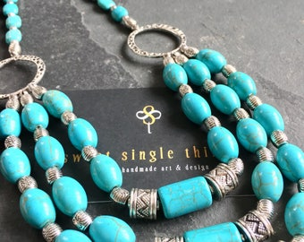 Chain, necklace, mehrstrangig, necklace, multi strand, turquoise, Tibetperlen, Bohemian, Ibiza, summer, turquoise, silver, rings, gift