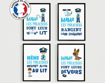 PROMO: Set of 4 Posters quotes in french police baby pele mele in a room - poster