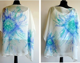 White and blue, hand painted silk tunic.