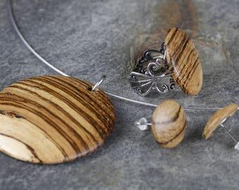 Jewelryset made of Zebrano hand work unique!