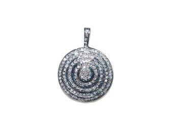 925 Silver Pave Diamond Round pendant