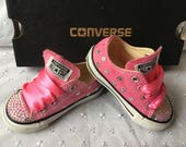 Bling  Customised Pink Flowers JuniorKids CONVERSE ALL STAR Trainers 11 12 13 1 2