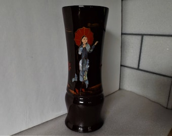 "9.3"" Burgundy Tall Vase Japan Black Lacquer Pretty Ladies Black Asian Decor Mother Pearl Inlay Otagiri MOP Inlay Abalone Inlay Wood Tumbler"