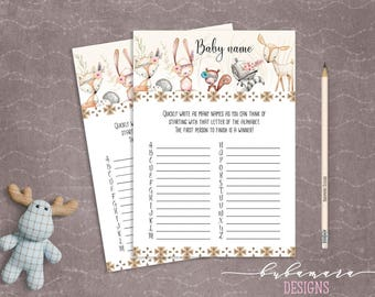 Woodland Animals Baby Name Baby Shower Game Cute Animals Fox Deer Squirrel Gender Neutral Printable Name Game Trivia Quiz Activity - CG007