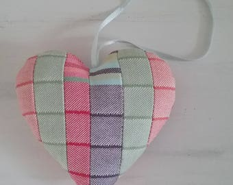 Fabric Heart - Shabby Chic Heart - Valentines Heart - Striped Heart - Multicoloured Heart - Door Heart  - Patchwork Heart - Heart Mobile