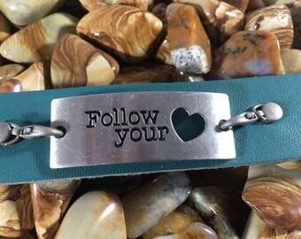 Follow Your Heart Leather Cuff Bracelet